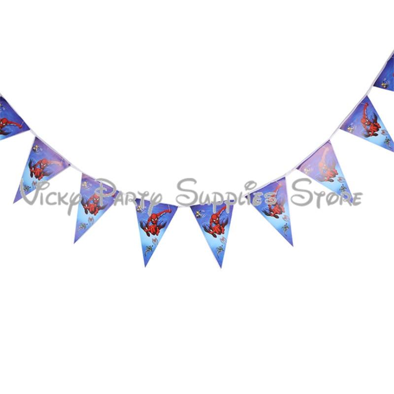 10 unids/lote banderines de Spider-man, banderín para niños, cumpleaños, Baby Shower con tema del Hombre Araña, decoración de fiesta bandera, suministros