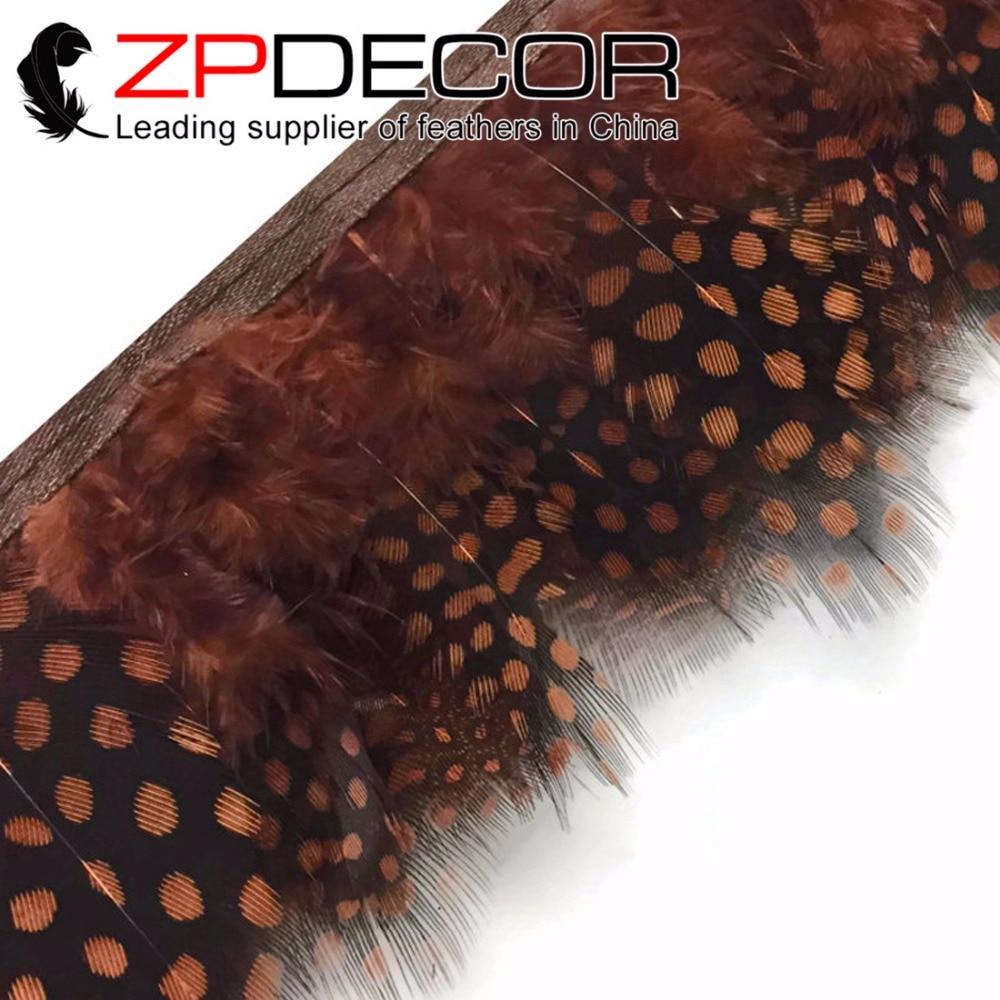 ZPDECOR 1-3 pulgadas 10 yardas/lote de alta calidad teñido marrón gallina de Guinea plumaje pluma Trim Quinceañera vestidos