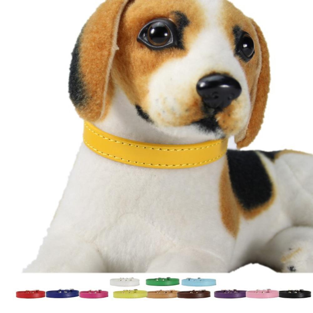 Collares para perros pequeños de Color liso, Collar Gato para cachorros, Collar de Chihuahua, Collar de piel sintética para gatitos, Collar mediano para mascotas