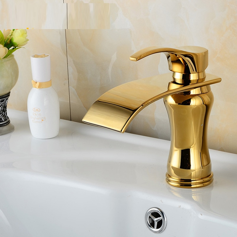 صنبور حوض حمام من اليشم النحاسي العتيق ، طراز أوروبي قديم ، يمكن استخدامه كخلاط مياه ، مطلي بالذهب ، بالجملة