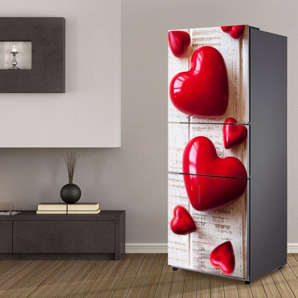 Venta al por mayor corazón rojo patrón de azúcar autoadhesivo para lavavajillas nevera etiqueta autoadhesiva para freezer chico arte funda para la puerta de la nevera papel pintado