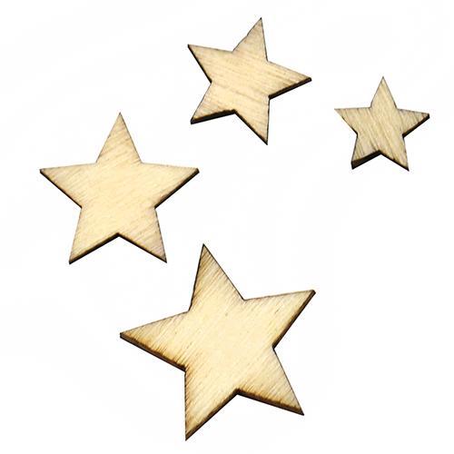 100Pcs Mixed Star Shape Wooden Buttons DIY Scrapbook Craft Clothing Decor  Button