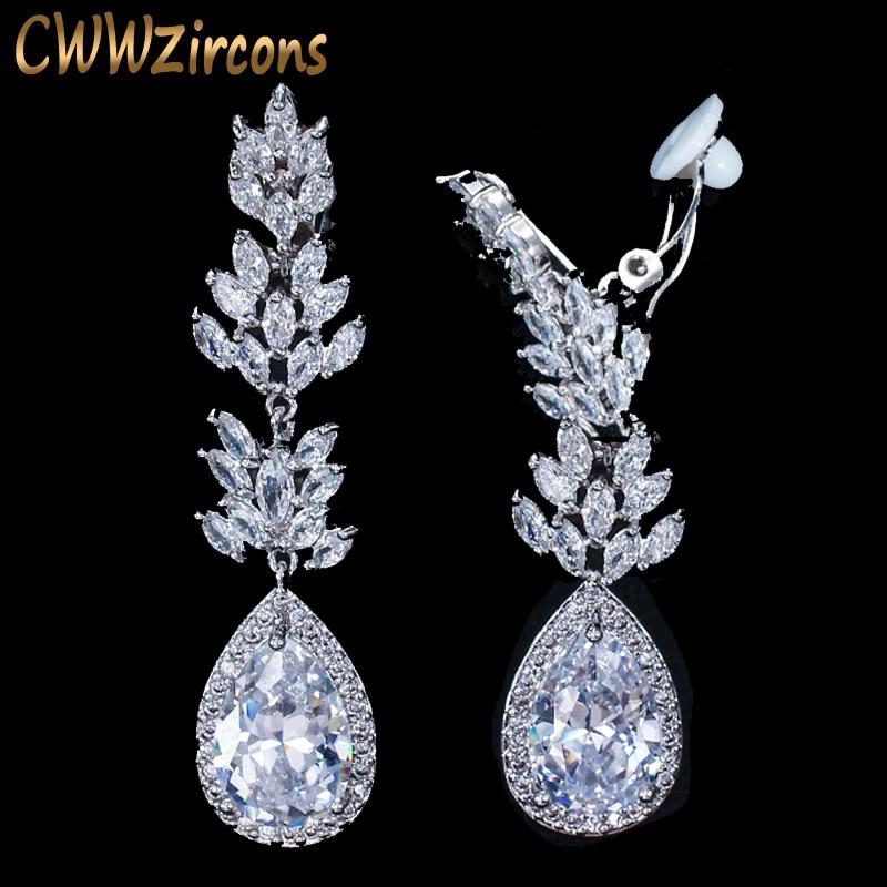 Cwwzircons nenhum furo perfurado design da orelha zircônia cúbica cristal pave feminino longa gota de água clip em brincos sem piercing cz411