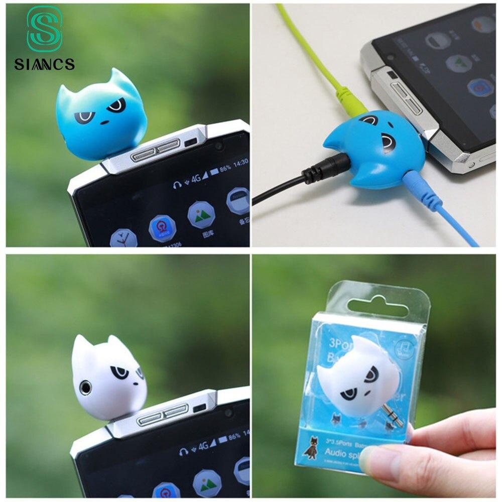 SIANCS 3 в 1 Бэтмен милый 3,5 мм разъем адаптер для наушников для Samsumg iPhone 5 5S 6 6S plus MP3 плеер наушники сплиттер адаптер