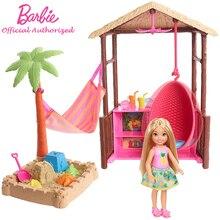 Barbie marque jouet Original poupée Chelsea Tiki cabane ensemble mignon Mini poupée plage série accessoires FWV24 pour cadeau enfant Boneca de Menti