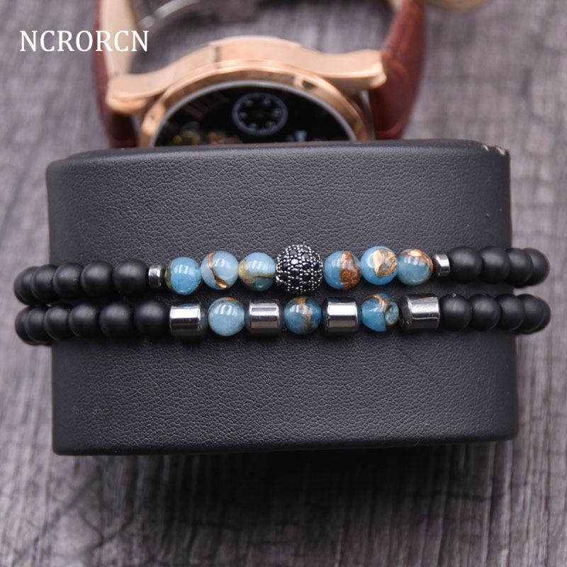 Nuevo diseño 2 pc/sets pulsera de piedra Natural de los hombres Micro Pave CZ 8 Bola de disco mm encantos pulseras para Mujeres Hombres joyería viking bijoux