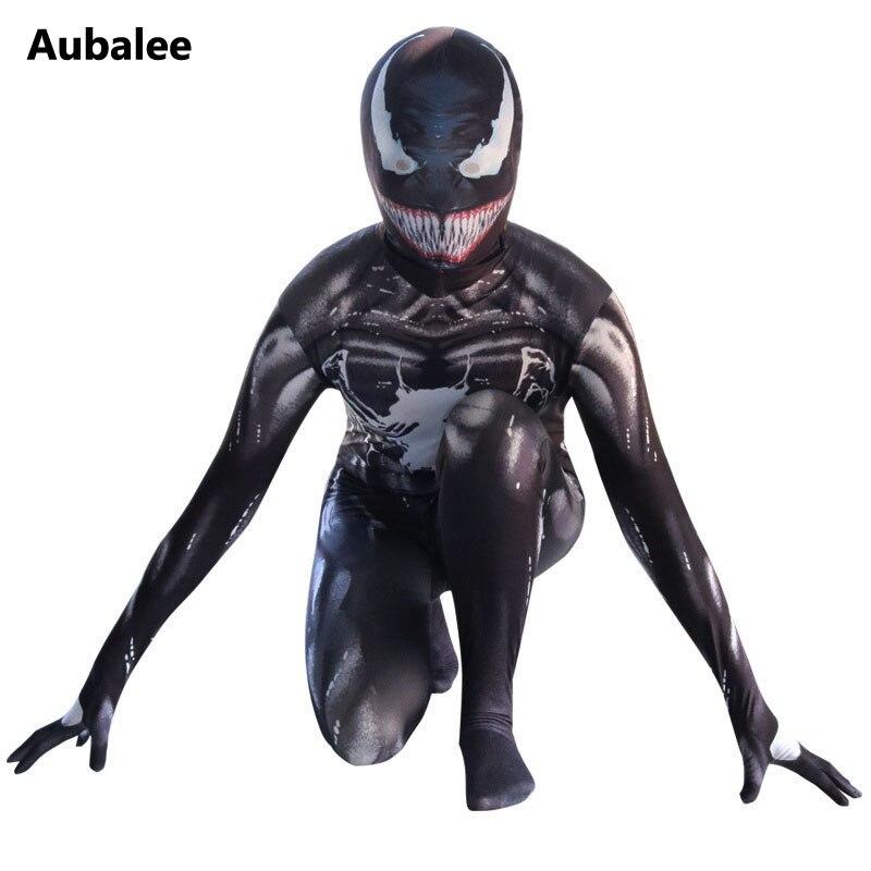 La película Black simbionte Venom hombre araña traje niños veneno traje de Cosplay de Halloween adultos traje de niños vestido de