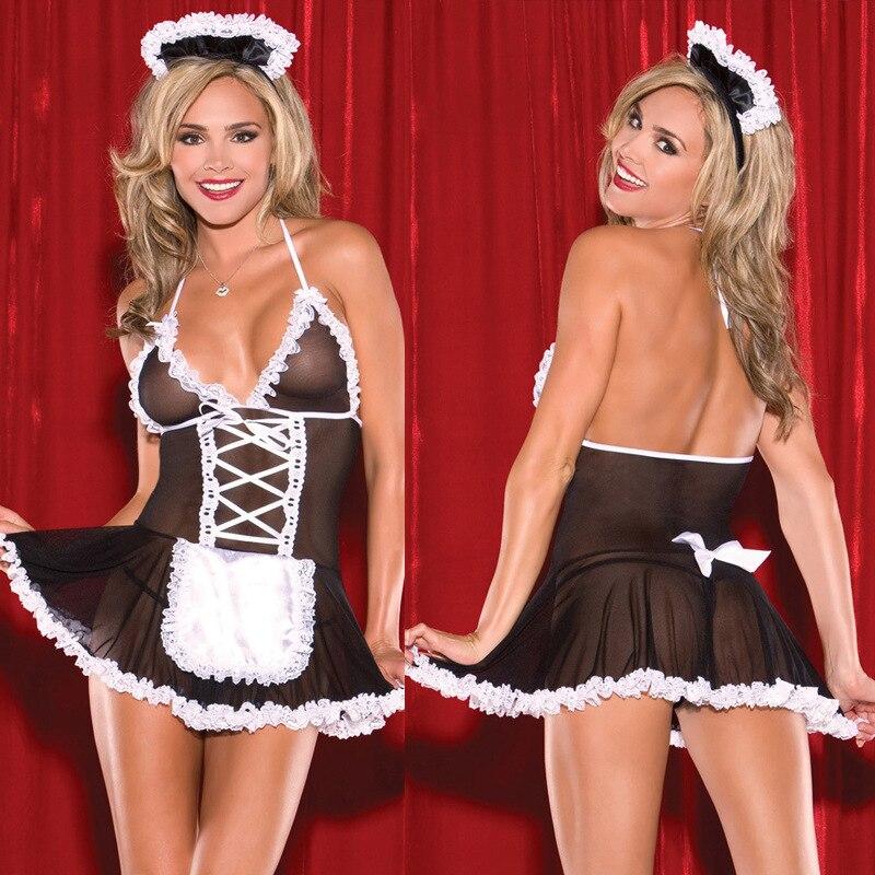 Nacht Fantasie Frauen Sexy Dessous Hausmädchen Cosplay Kleid Rolepaly Kostüme Porno Erotische Chemise V Neck Lace Floral