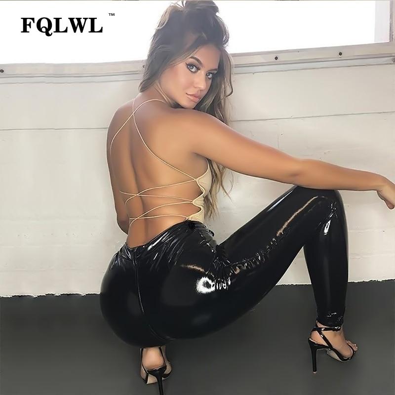 FQLWL, pantalones de piel de imitación negros de PU, pantalones para mujeres, pantalones de lápiz de cintura alta con botones, pantalones de mujer Sexy ajustados para invierno, mallas