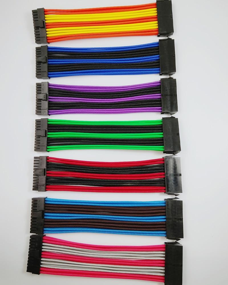 ATX МБ 24PIN гнездовой к гнезду 20 + 4P 18AWG PSU Удлинительный шнур/кабель с черными, розовыми, красными, синими, фиолетовыми, зелеными, оранжевыми рука...