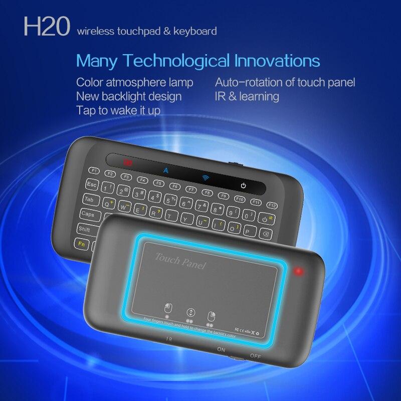 H20 2.4g teclado de luz de fundo sem fio, mini controle remoto touchpad para android tv box pc laptop smart tv para raspberry pi pi
