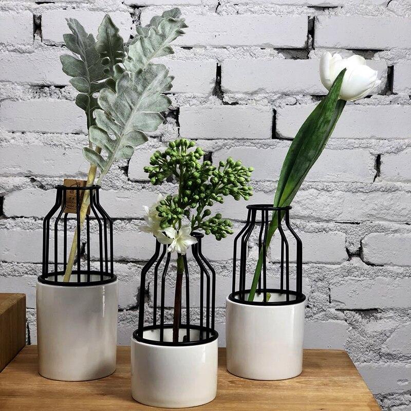 Florero de cerámica con forma de jaula de pájaros de hierro forjado con geometría creativa, maceta con arreglo de flores, soporte de flores de cristal, decoración del hogar de París