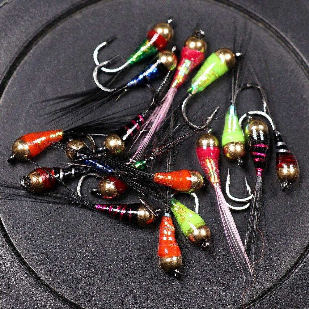 6 uds #14 trucha Bluegill Señuelos de Pesca cabeza de cuentas de latón Epoxy Ninfa mosca rápido hundimiento anzuelo cebo de pesca