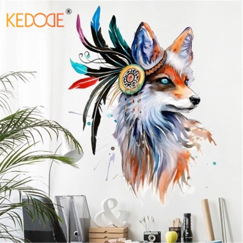 KEDODE personalidad arte acuarela pintados a mano Lobo pegatinas de pared nórdico minimalista salón dormitorio Fondo pared pegatinas