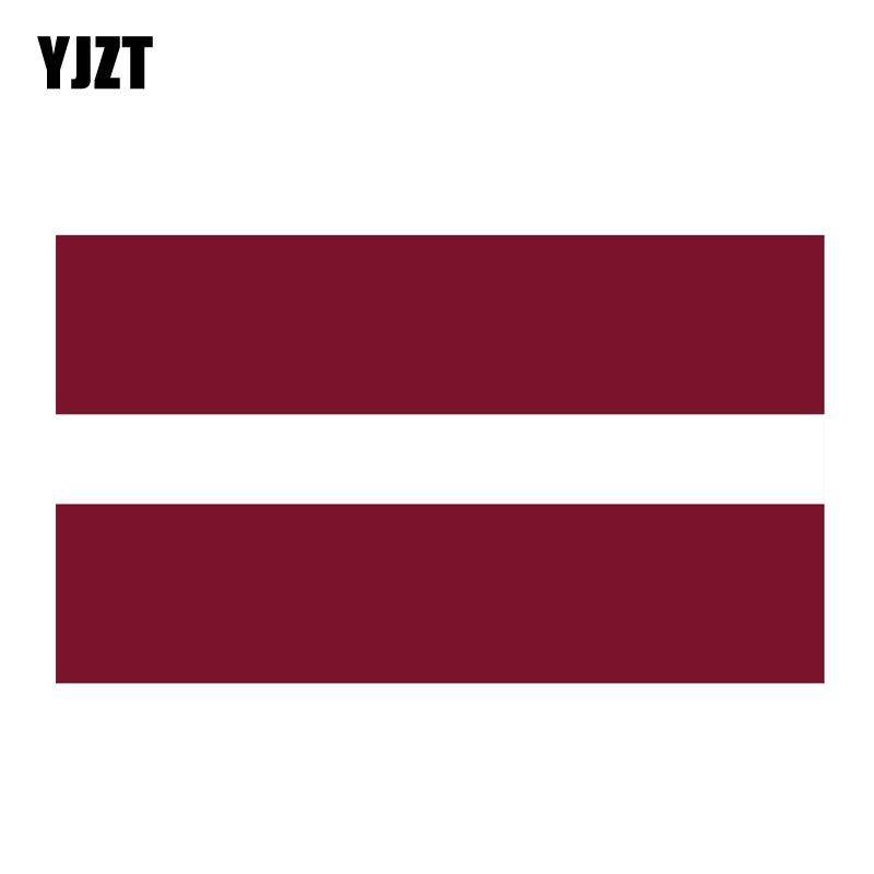 YJZT 15,8 CM * 9,3 CM bandera de Letonia pegatina PVC para coche creativo cuerpo pegatina para ventanas 6-0755