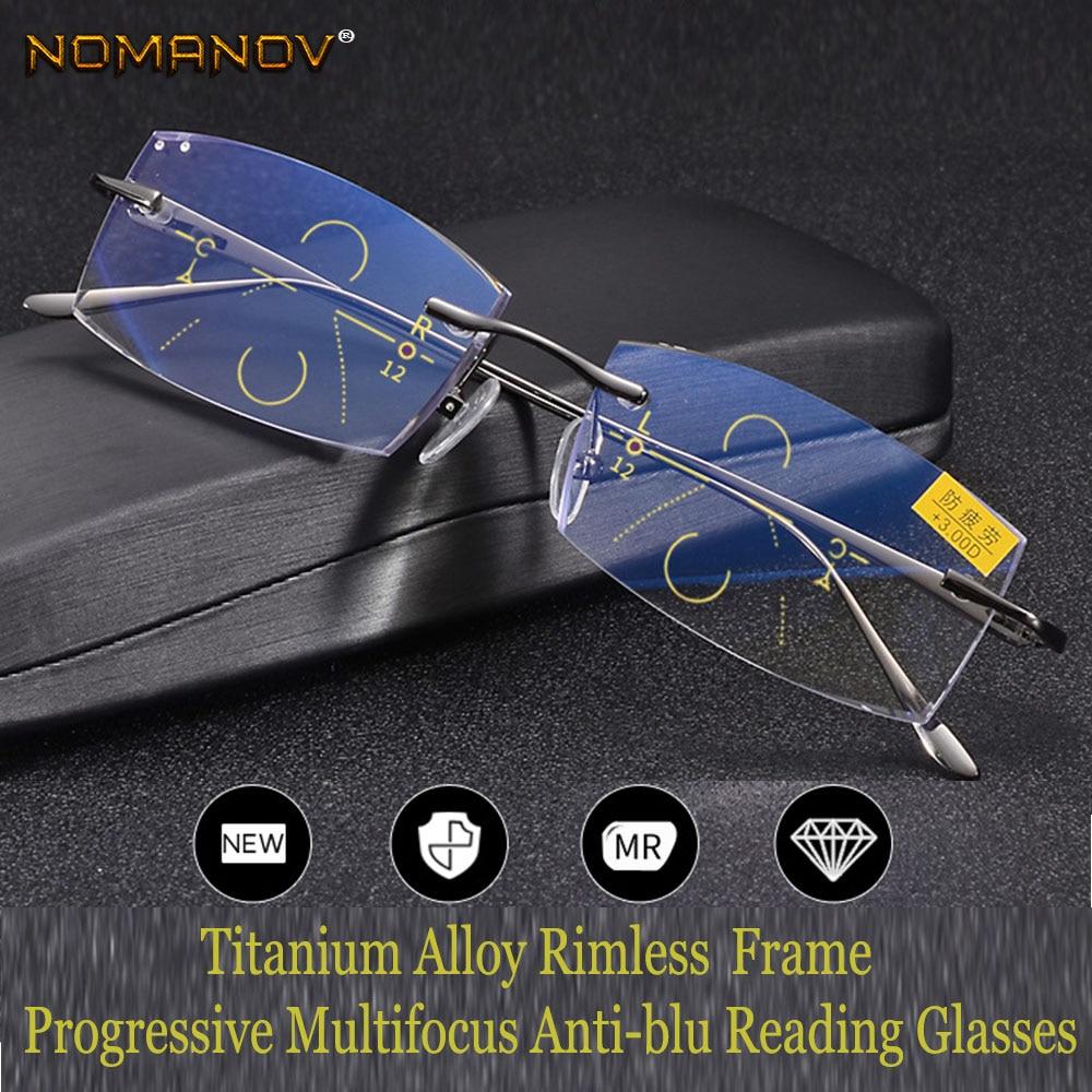 NOMANOV = Progressive Multifocal Reading Glasses Titanium Alloy Rimless Diamond Cut  See Near And Far TOP 0 ADD +0.75 To +3