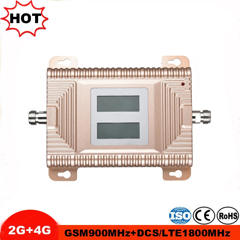 Pantalla LCD GSM 900 4G LTE 1800 Repetidor GSM 900, 1800 mhz Amplificador de señal móvil 65dB de banda Dual amplificador Repetidor Celular