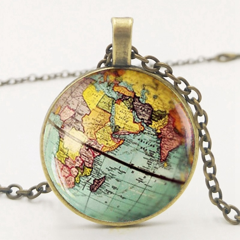 Fashion Retro Dome Glass Globe Pendant Necklace Earth Planet Earth World Map Ball Pendant Charm Chain Necklace Jewelry
