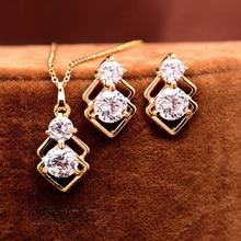 Ensembles de bijoux africains en cristal de mariage élégant pour les femmes couleur or Double couche pendentif carré collier boucles doreilles bijoux de fête