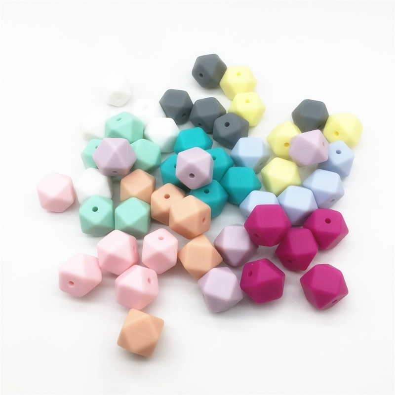 Chenkai 10pcs BPA Free 14mm Silicone Hexagon Teether Beads DIY baby pacifier infant dummy Soother Sensory Jewelry Toy Gift