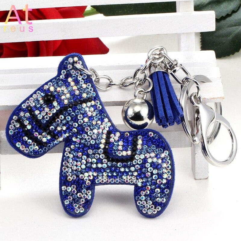 Luxe mignon bleu incrustation cristal cheval porte-clés sac à main sac à main femmes en cuir troie pendentif porte-clés voiture porte-clés porte-cadeau