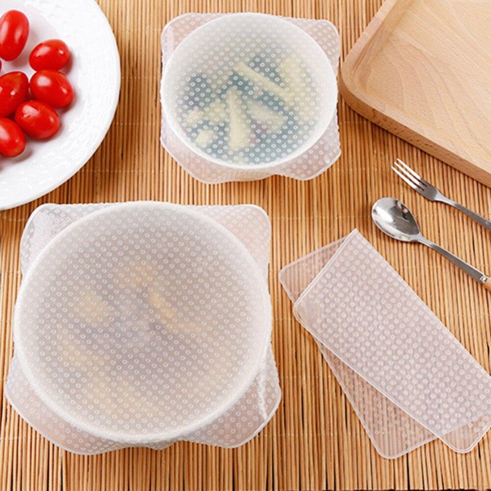 4 Uds tapas de silicona para Bol papel para guardar alimentos frescos cubierta de silicona reutilizable para envolver alimentos al vacío Acc