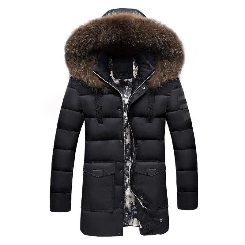 Зимние мужские куртки 2020, Длинные парки большого размера с меховым воротником, мужские пальто, толстые пышные повседневные куртки с капюшон...