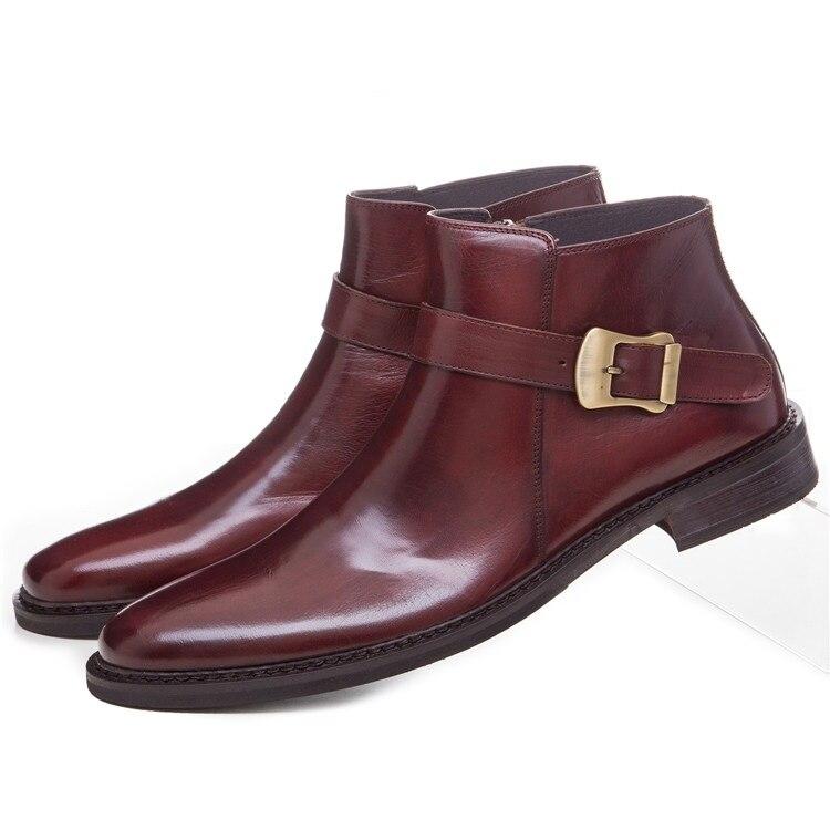 Botines a la moda negros/marrones para hombre, de piel auténtica, puntiagudos, botas de vestir de negocios, zapatos de moto para hombre con hebilla