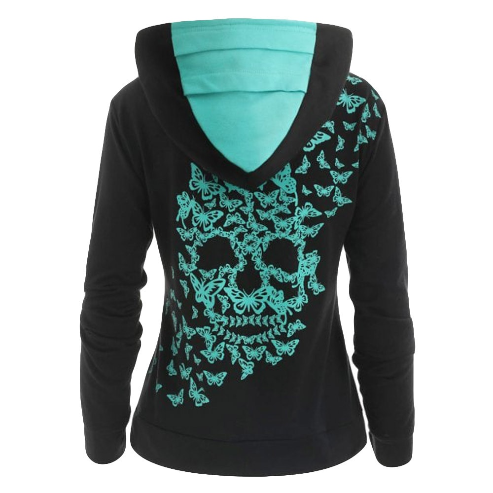 Hxroolrp Womens Fashion Butterfly Skull Printhoodiesweatshirt Tops Sweatshirt harajuku Jimin Ariana Grande Harry Style E1