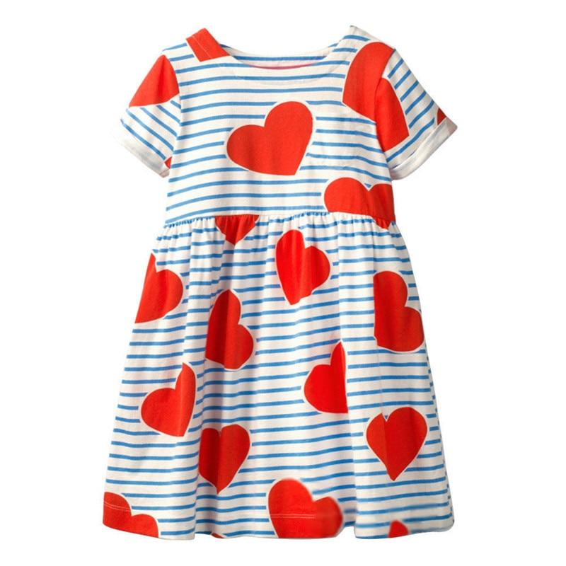 Jumping metros marca listra vestidos casuais da menina verão corações do bebê 100% algodão vestidos 2019 roupas de manga curta crianças vestidos