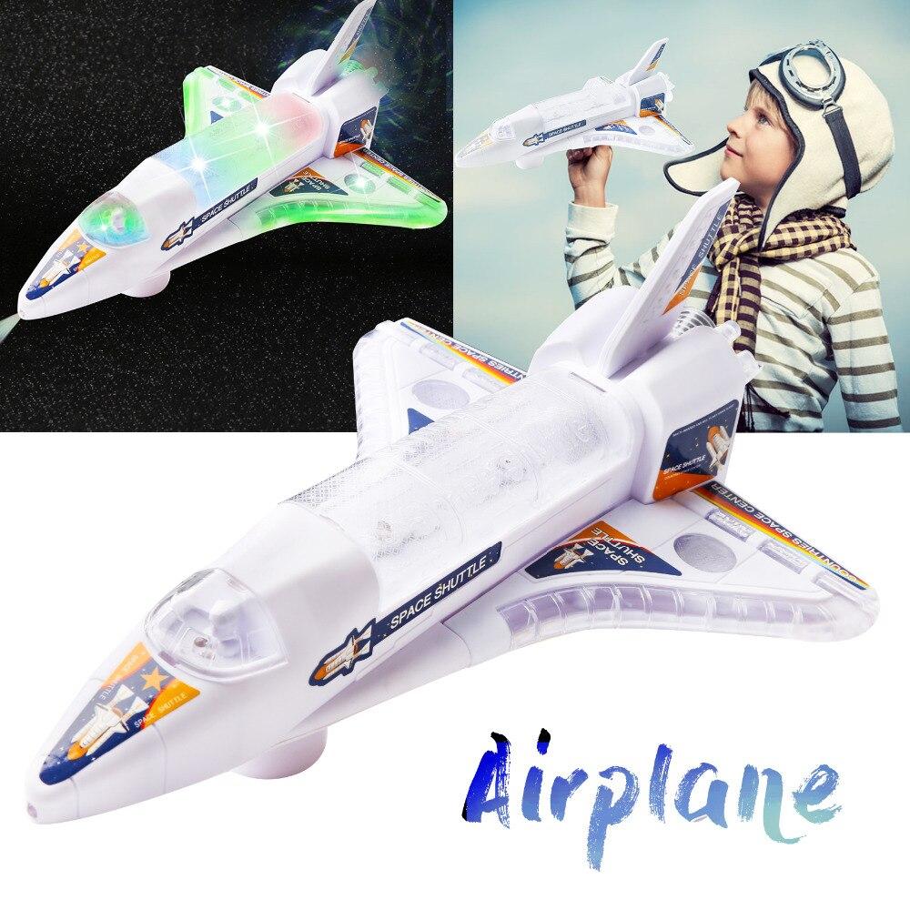 360 градусов авто самолет игрушечный автомобиль Bump and Go Электрический космический челнок модель самолета с огнями универсальное вращение ко...
