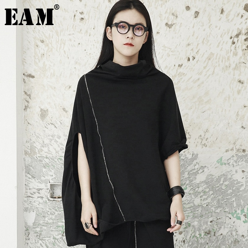 [EAM] 2020 New Spring Round Neck Three-quarter Batwing Sleece Black Line Split Joint Sweatsirt Women Fashion Tide JG917