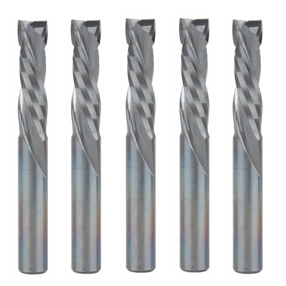 5 uds. Corte vertical 6MM x 25 MM-2 flautas carburo sólido CNC fresa final cortador de compresión, herramientas de carpintería de fresado de tungsteno