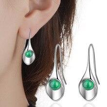 Drop Shipping Luxury Green Stone High Quality 925 Sterling Silver Jewelry Drop Earrings For Women Fashion Women Best Gifts