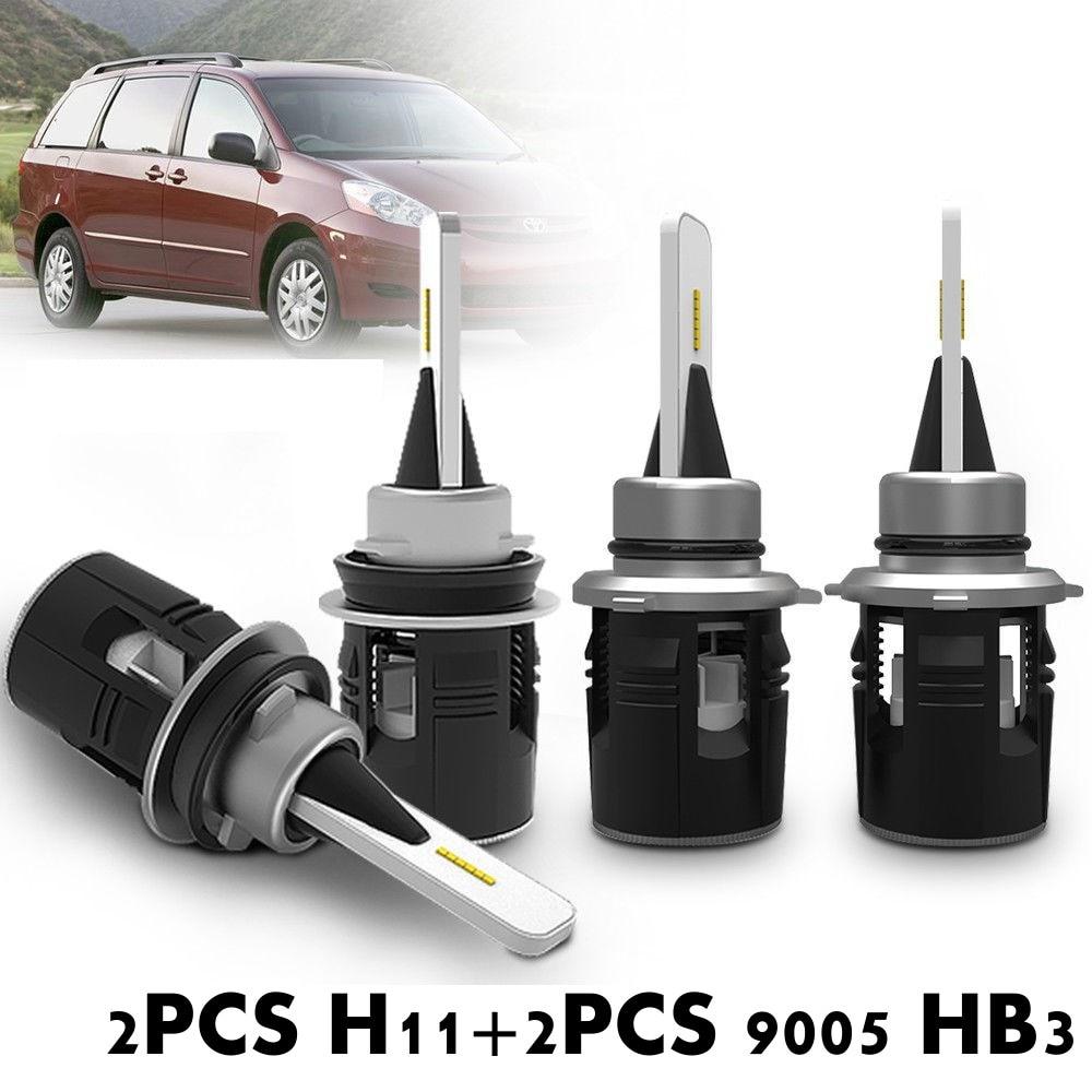 Fuleem 4 piezas coche Combo H11 9005 HB3 Y19 Chips LED faro Bluetooth Hola/Lo haz 7200LM 6000 K para Toyota Sienna 2010-2017