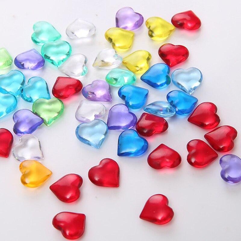 100PCS 10mm Herz Form Acryl Kristall Diamant Pfand Unregelmäßigen Stein Chessman Spiel Stücke Für Token Bord Spiel Zubehör