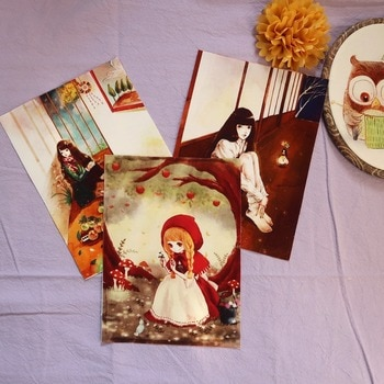 1 Retro bird Fairy girl patchwork hand cloth 15*20CM cotton hand DIY fabric Fairy Tales designs fabric frame painting