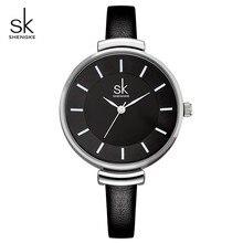 Shengke mode femmes montres de luxe Quartz horloge femmes noir mince bracelet en cuir dames montres 2019 SK Relogio Feminino # K0010