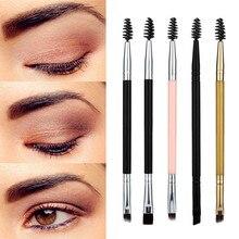 1PC Eyebrow Brush  Double Head Makeup Brushes Wood Handle Double Sided Eyebrow Profissional Flat Angled Brushes  G415