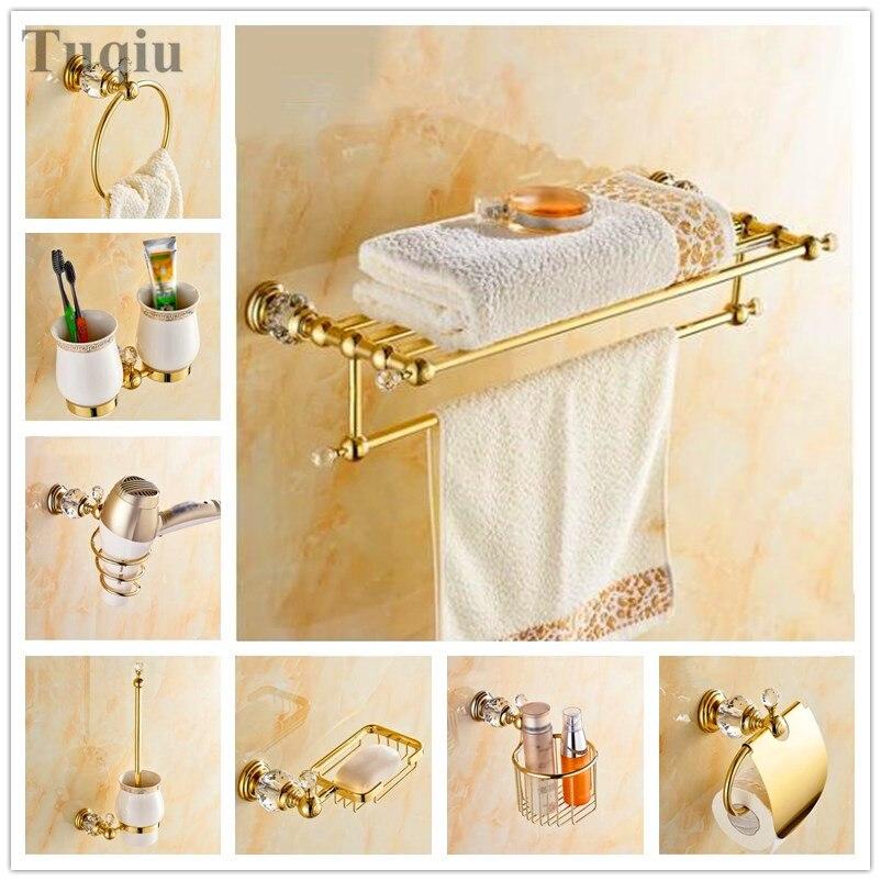 شحن مجاني قلادة مجموعة حمام منشفة الرف جميع النحاس الأجهزة الحمام منشفة رف رف الحمام شنقا