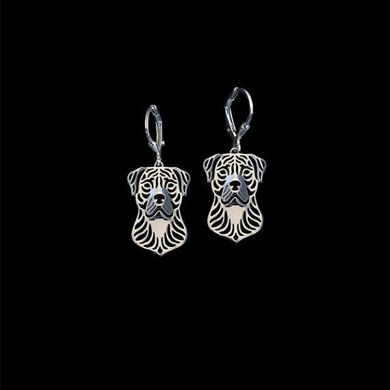 Nueva moda Perro de presa canario pendientes de plata de oro Chapado...