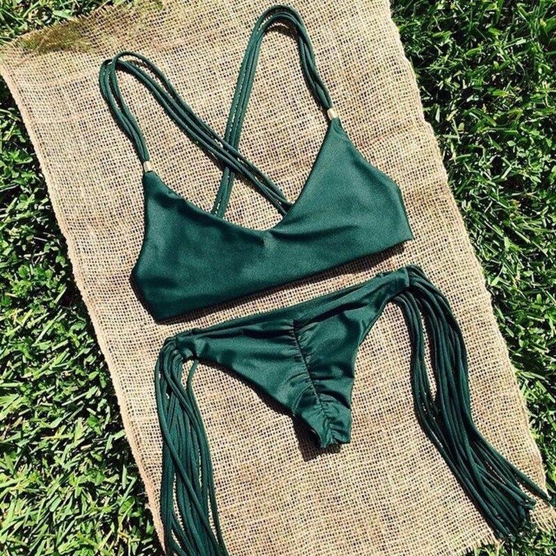 Traje de baño con flecos, Sexy traje de baño brasileño de verano para mujer, Bikinis, traje de baño verde con flecos, ropa de playa, bikini Sexy