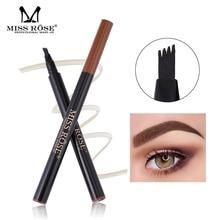 Miss Rose 3 Color Sketch Long lasting Eyebrow Pencil Liquid Waterproof Natural Eyebrow Professional Four pronged Enhancer Makeup