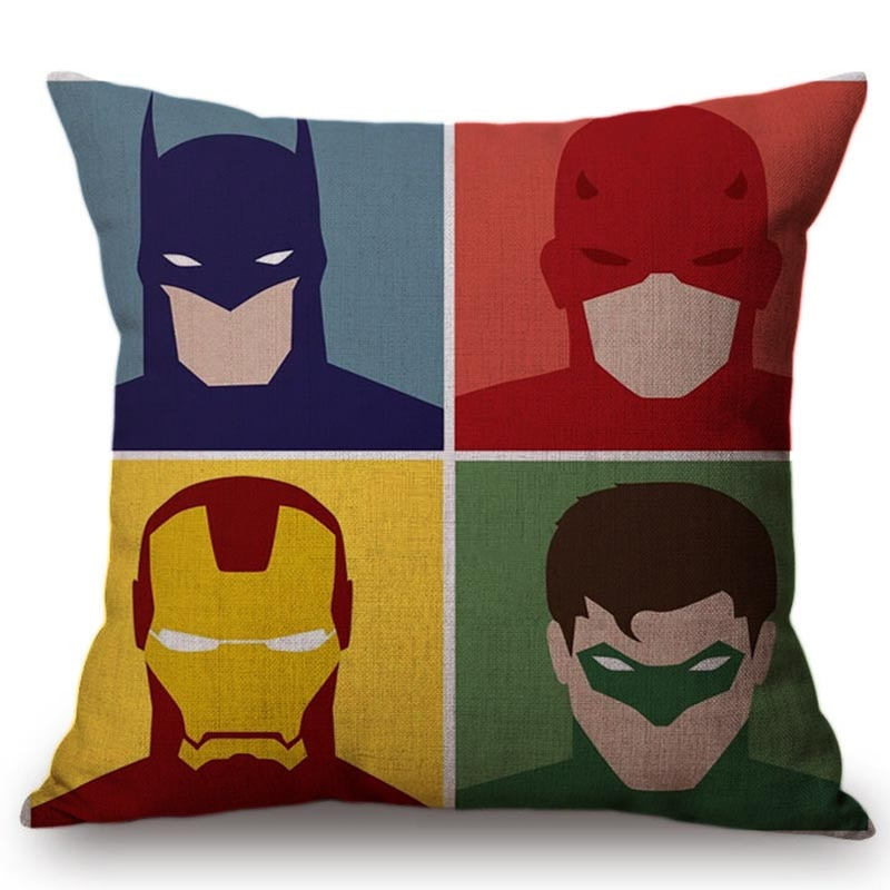 Cartoon Justice League Pillow Case Funny Spider Man Wonder Woman Superman Linen Cushion Cover Cute Captain America Pillow Covers
