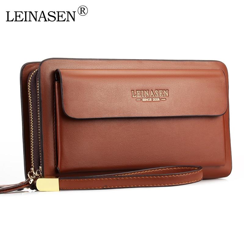 Мужской кошелек LEINASEN, черный длинный кошелек на молнии с карманом для монет
