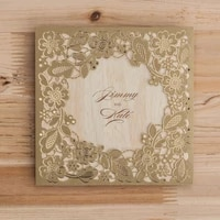 gold square laser cut wedding invitation cards with embossed hollow floral favors for bridal shower engagement birthday cw5279