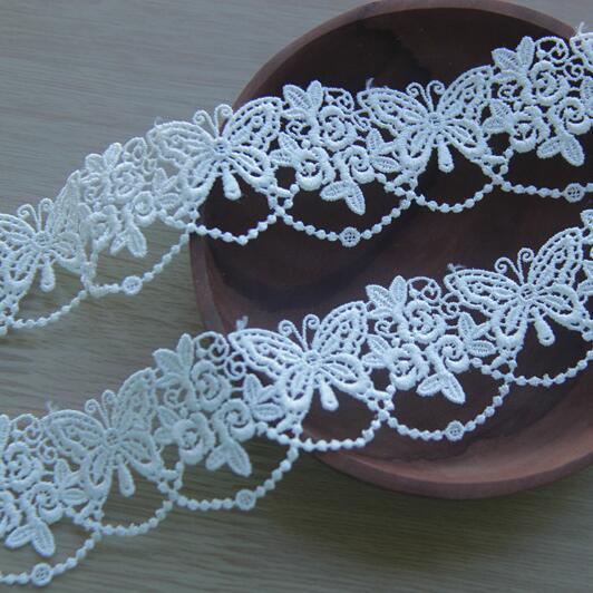 DIY Preto Branco 3.5 cm Requintado Solúvel Em Água Guarnição Do Laço Handmade Diy Tecido Bordado Gaze Roupas Acessórios