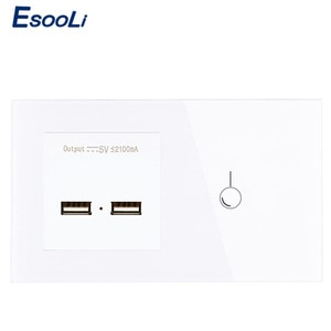 Esooli EU Standard 1 Gang 1 Way Touch Switch and Power Outlet With Dual USB Smart Induction Charge Port For Mobile 5V 2.1A