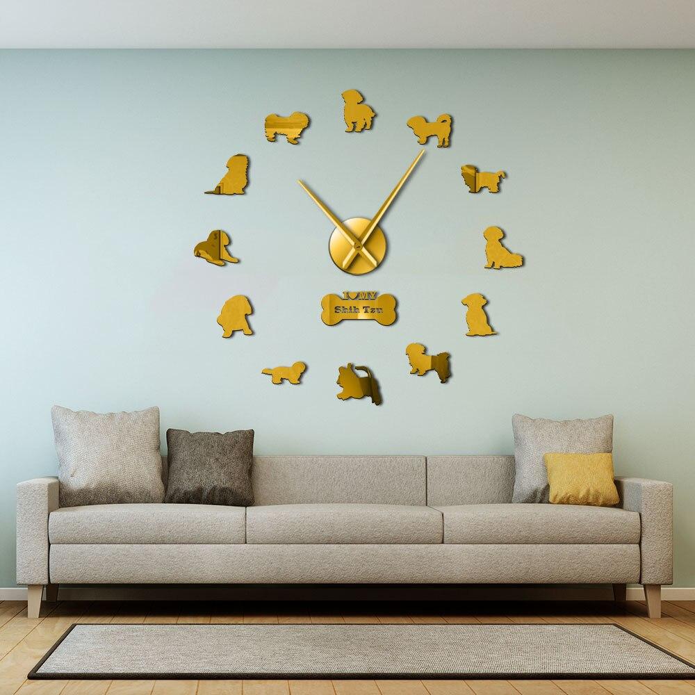 Shih Tzu sin marco grande Reloj de pared para mascotas perro decoración chino perro León DIY arte de la pared pegatinas de crisantemo perro reloj pared reloj