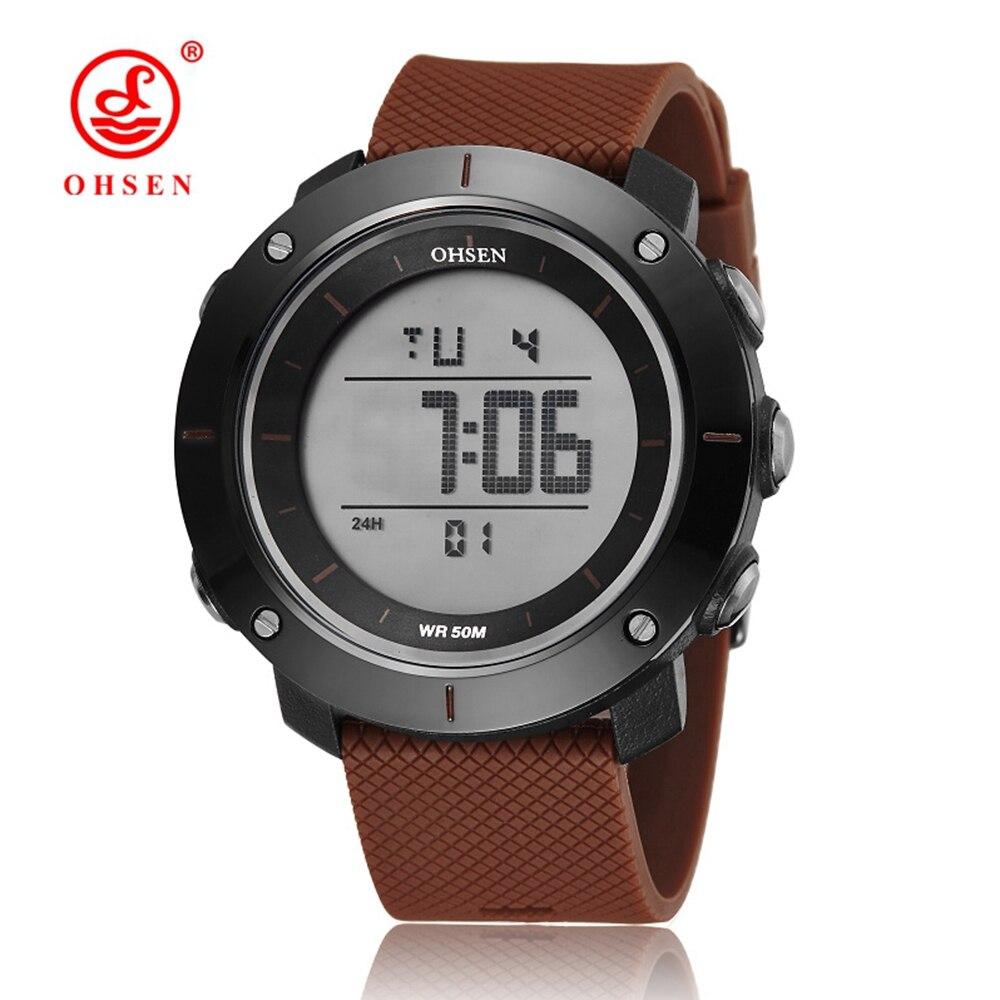 Новинка 2017, оптовая продажа, OHSEN электронные светодиодные спортивные часы для дайвинга, мужские модные кофейные наручные часы с ЖК-дисплеем,...